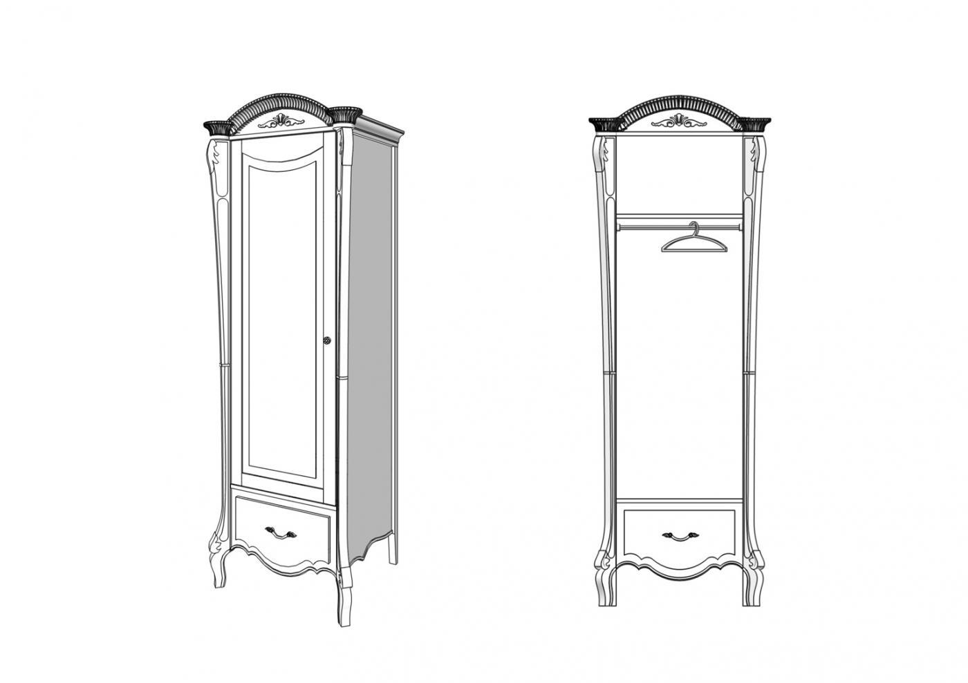 Шкаф Валенсия 1 дверь 1 ящик2