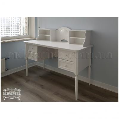 Письменный стол Сиена-Конфети 4 ящика с надстройкой Письменные столы из дерева Одесса, деревянные письменные столы под заказ