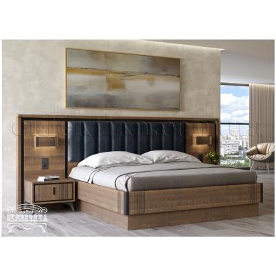 Кровать Геометрия (с подсветкой) Кровати из дерева Одесса, деревянные кровати под заказ