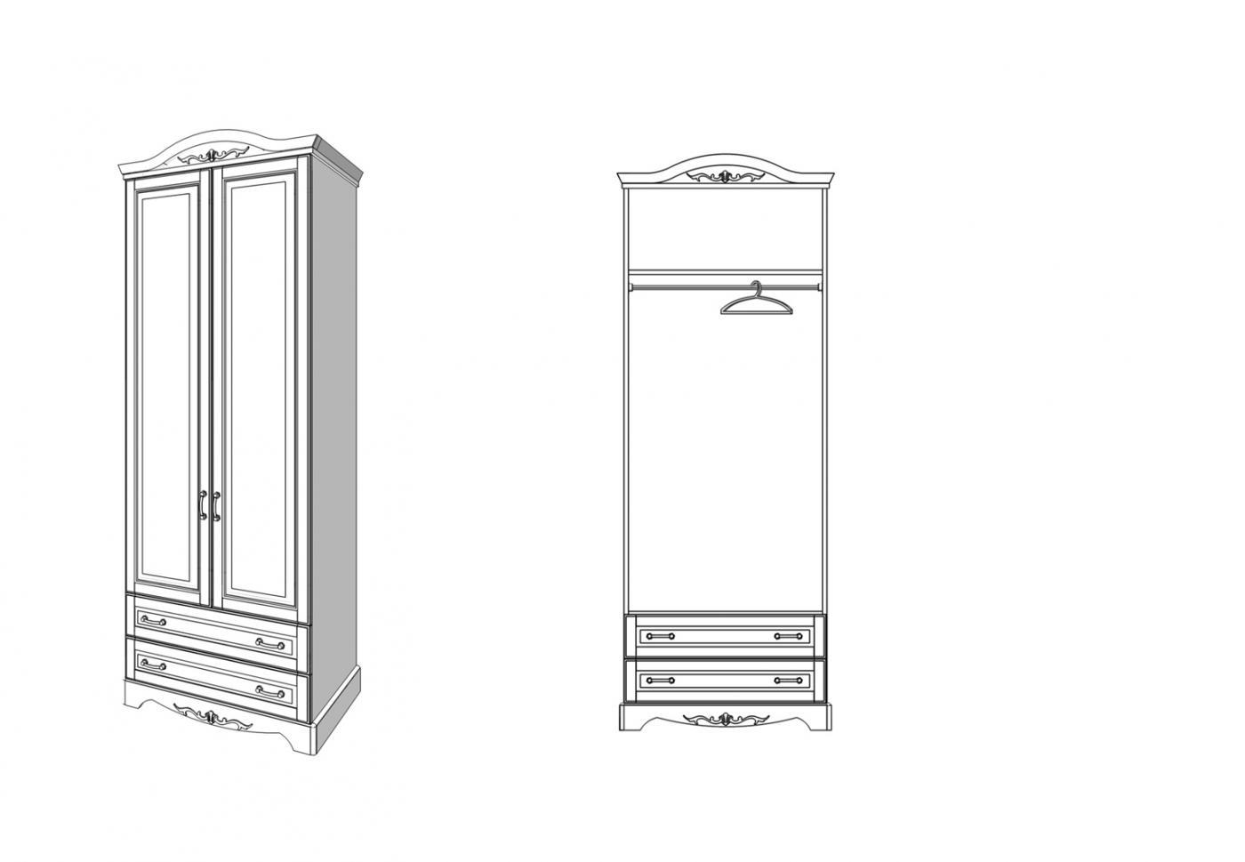 Шкаф Прованс 2 двери 2 ящика2