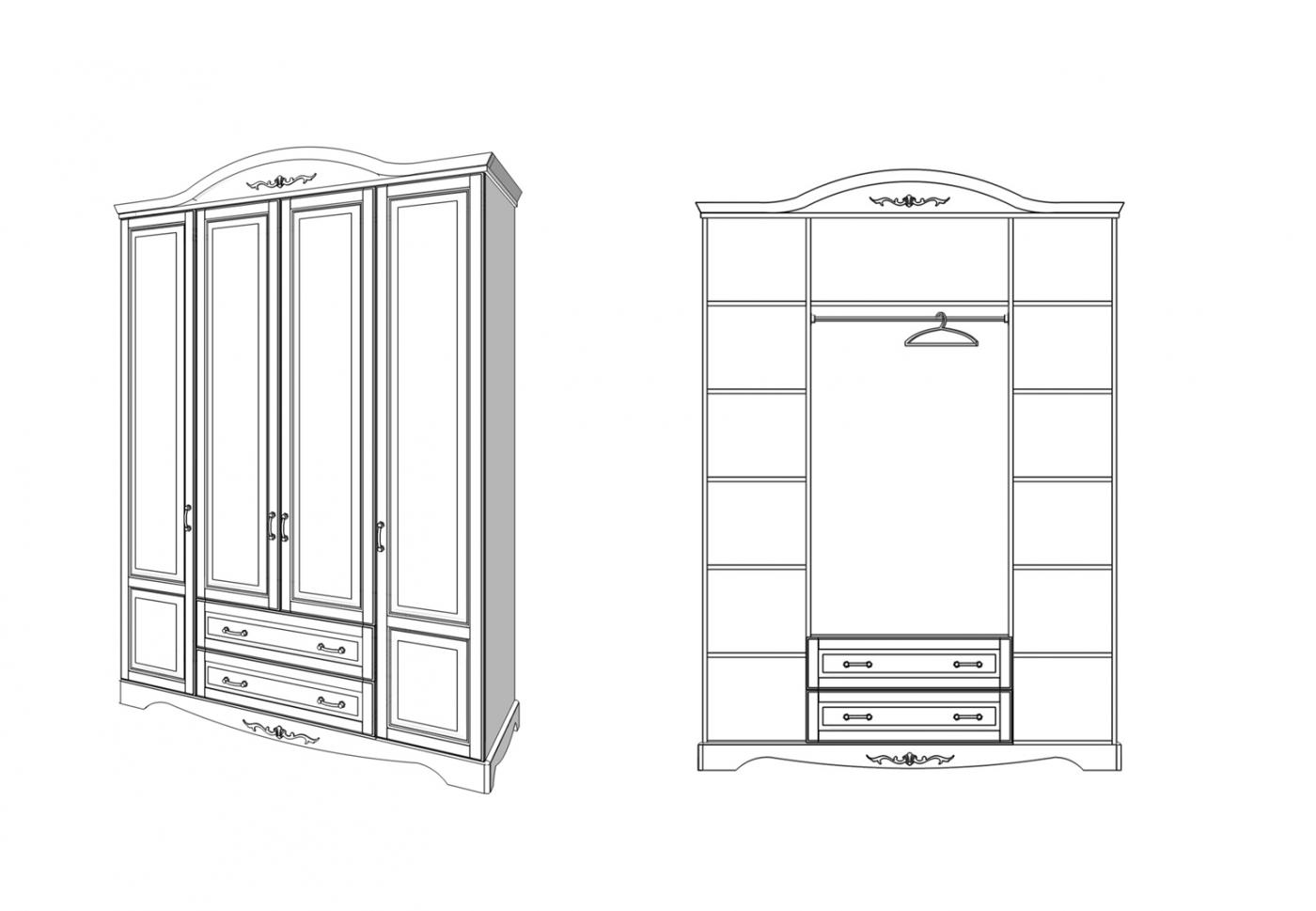 Шкаф Прованс 4 двери 2 ящика2